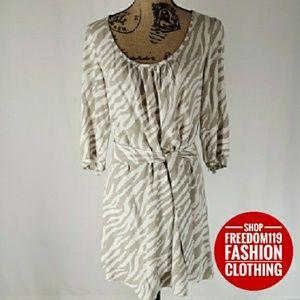 Gap | Zebra Print Scoop Neck 3/4 sleeve Dress (XS)